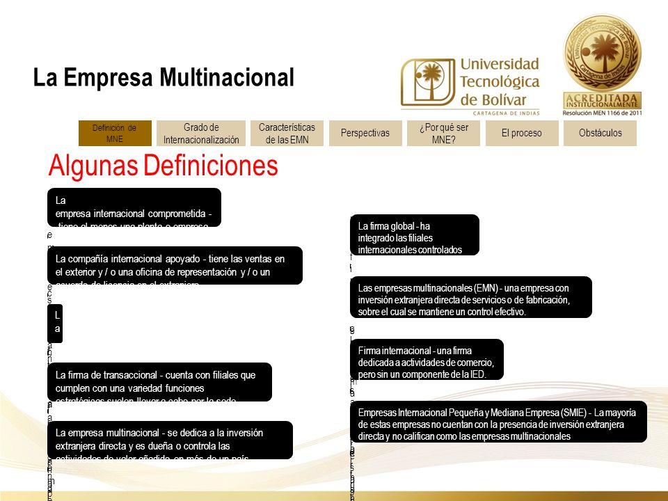 Algunas Definiciones La Empresa Multinacional La empresa internacional comprometida - tiene al menos una planta o empresa conjunta en el extranjero.