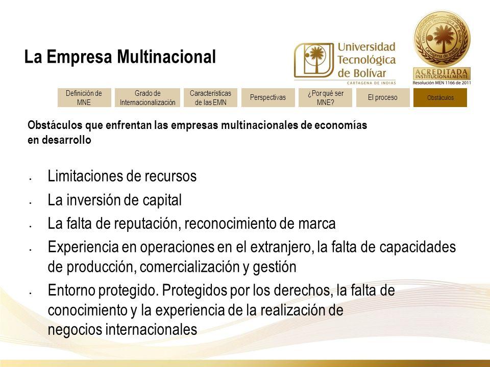 Obstáculos que enfrentan las empresas multinacionales de economías en desarrollo La Empresa Multinacional Definición de MNE Características de las EMN Grado de Internacionalización Perspectivas ¿Por qué ser MNE.