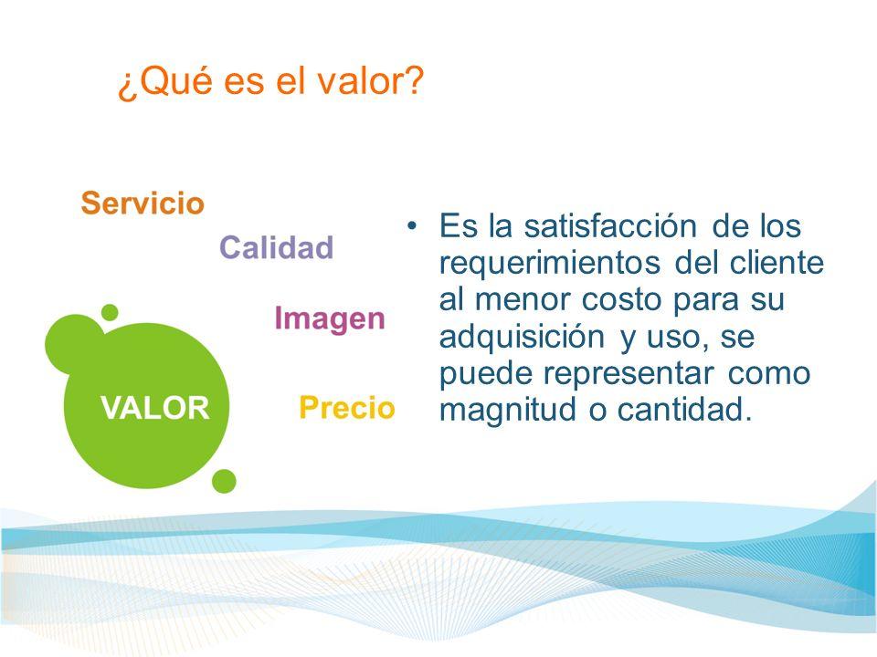 ¿Qué es el valor? Es la satisfacción de los requerimientos del cliente al menor costo para su adquisición y uso, se puede representar como magnitud o