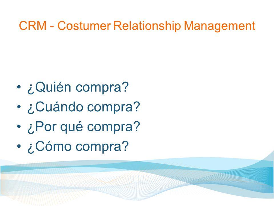 CRM - Costumer Relationship Management ¿Quién compra? ¿Cuándo compra? ¿Por qué compra? ¿Cómo compra?