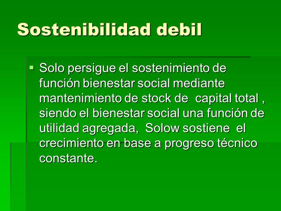 Sostenibilidad debil Solo persigue el sostenimiento de función bienestar social mediante mantenimiento de stock de capital total, siendo el bienestar