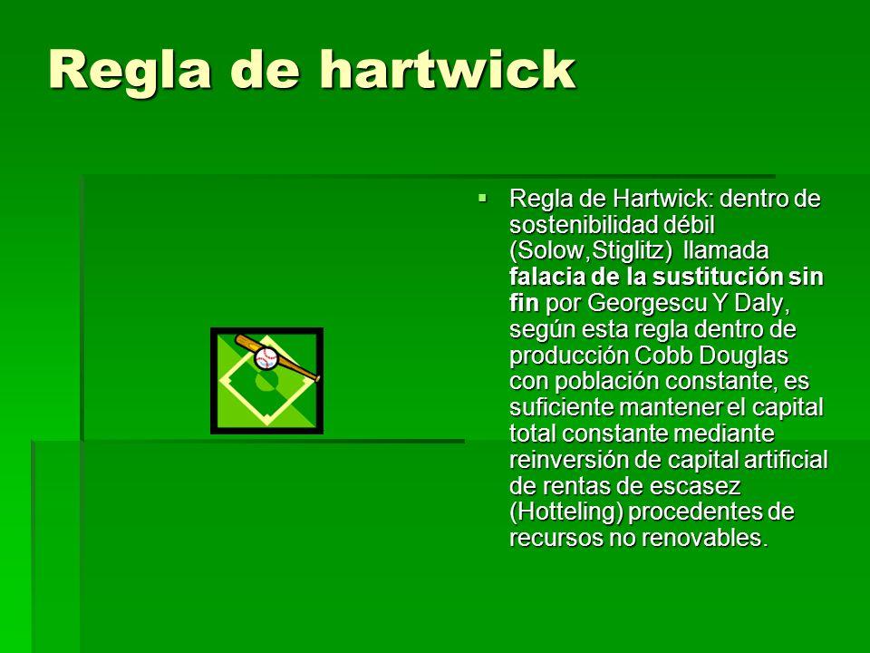 Regla de hartwick Regla de Hartwick: dentro de sostenibilidad débil (Solow,Stiglitz) llamada falacia de la sustitución sin fin por Georgescu Y Daly, s