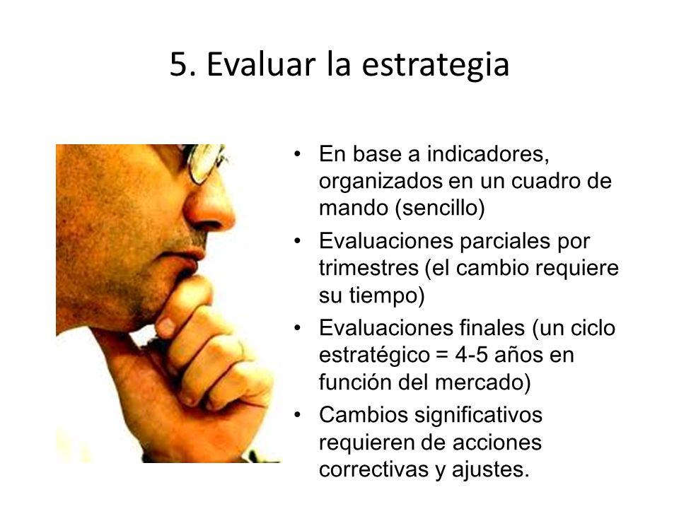 5. Evaluar la estrategia En base a indicadores, organizados en un cuadro de mando (sencillo) Evaluaciones parciales por trimestres (el cambio requiere