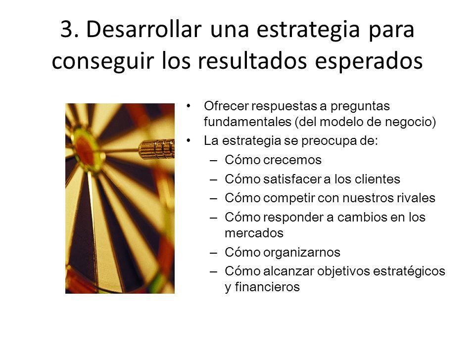 3. Desarrollar una estrategia para conseguir los resultados esperados Ofrecer respuestas a preguntas fundamentales (del modelo de negocio) La estrateg