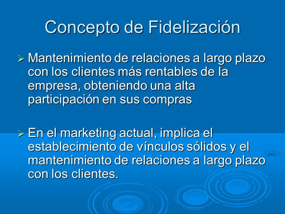 Concepto de Fidelización Mantenimiento de relaciones a largo plazo con los clientes más rentables de la empresa, obteniendo una alta participación en