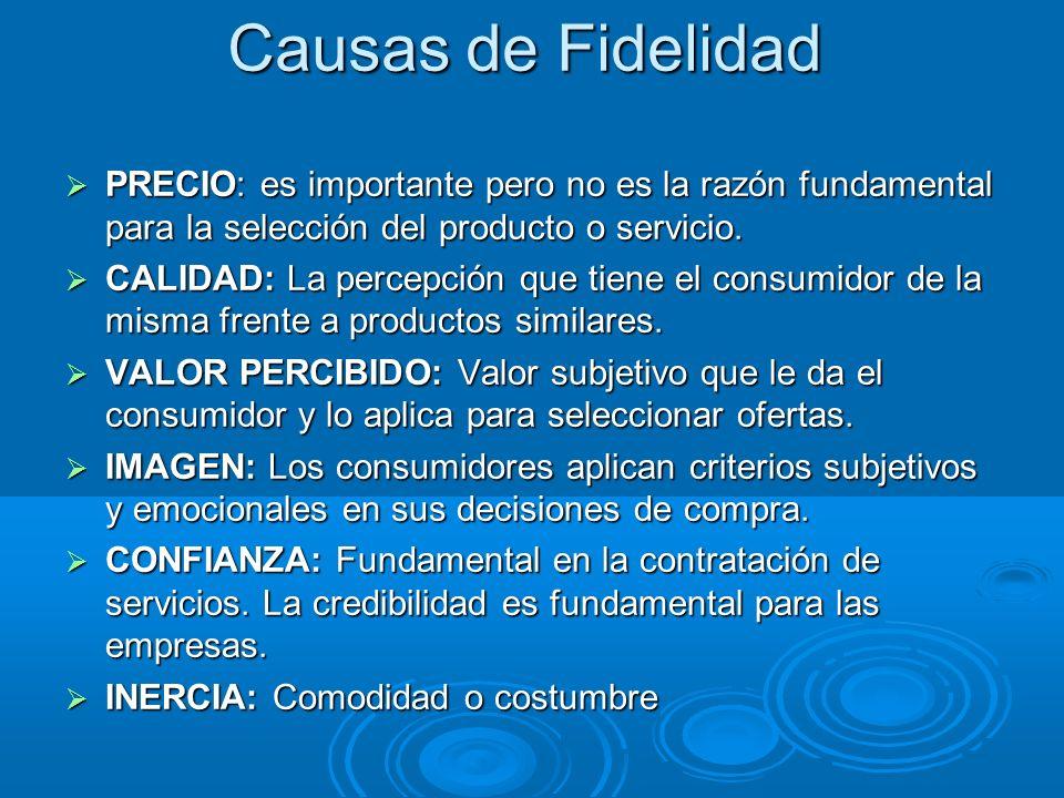 Causas de Fidelidad PRECIO: es importante pero no es la razón fundamental para la selección del producto o servicio.