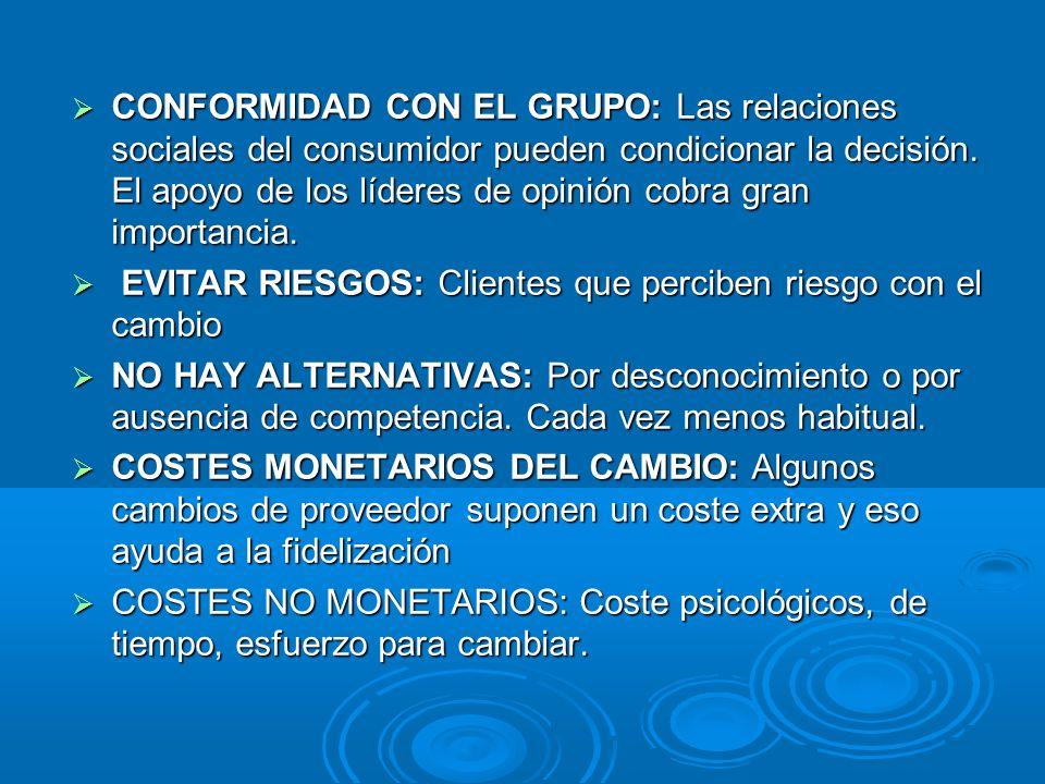 CONFORMIDAD CON EL GRUPO: Las relaciones sociales del consumidor pueden condicionar la decisión. El apoyo de los líderes de opinión cobra gran importa