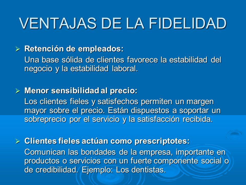VENTAJAS DE LA FIDELIDAD Retención de empleados: Retención de empleados: Una base sólida de clientes favorece la estabilidad del negocio y la estabilidad laboral.