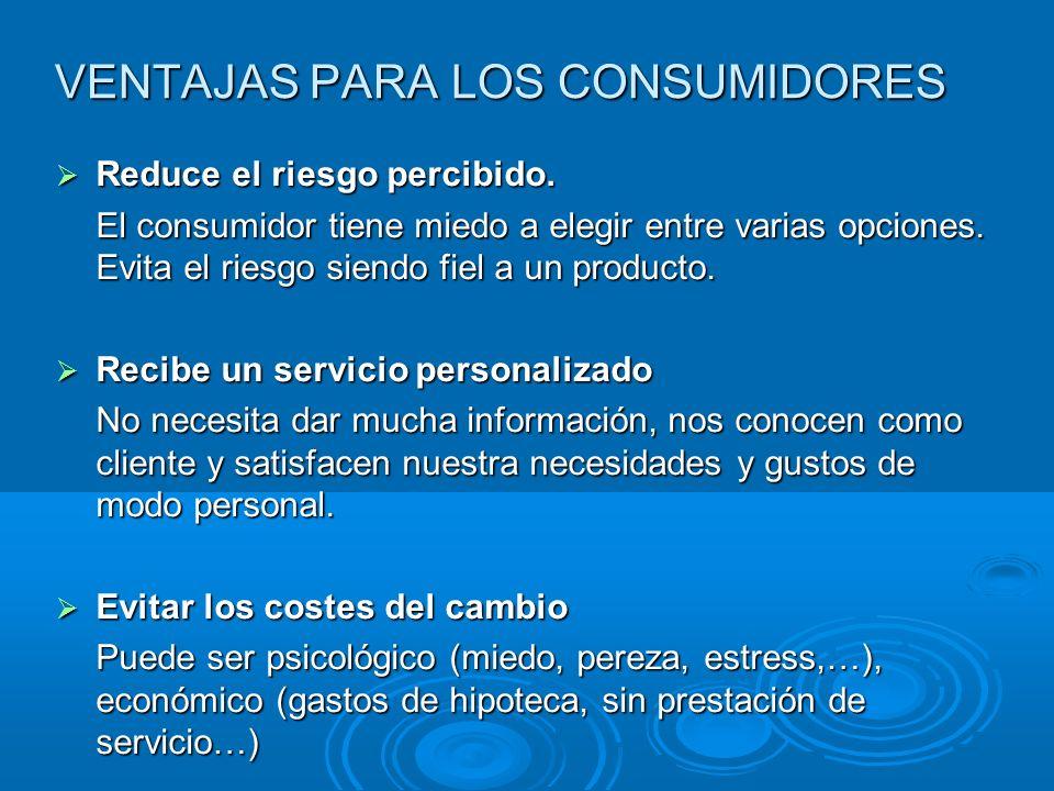 VENTAJAS PARA LOS CONSUMIDORES Reduce el riesgo percibido. Reduce el riesgo percibido. El consumidor tiene miedo a elegir entre varias opciones. Evita