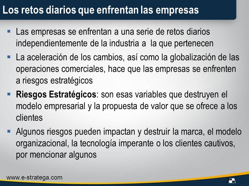 www.e-stratega.com 2 Los retos diarios que enfrentan las empresas Las empresas se enfrentan a una serie de retos diarios independientemente de la indu