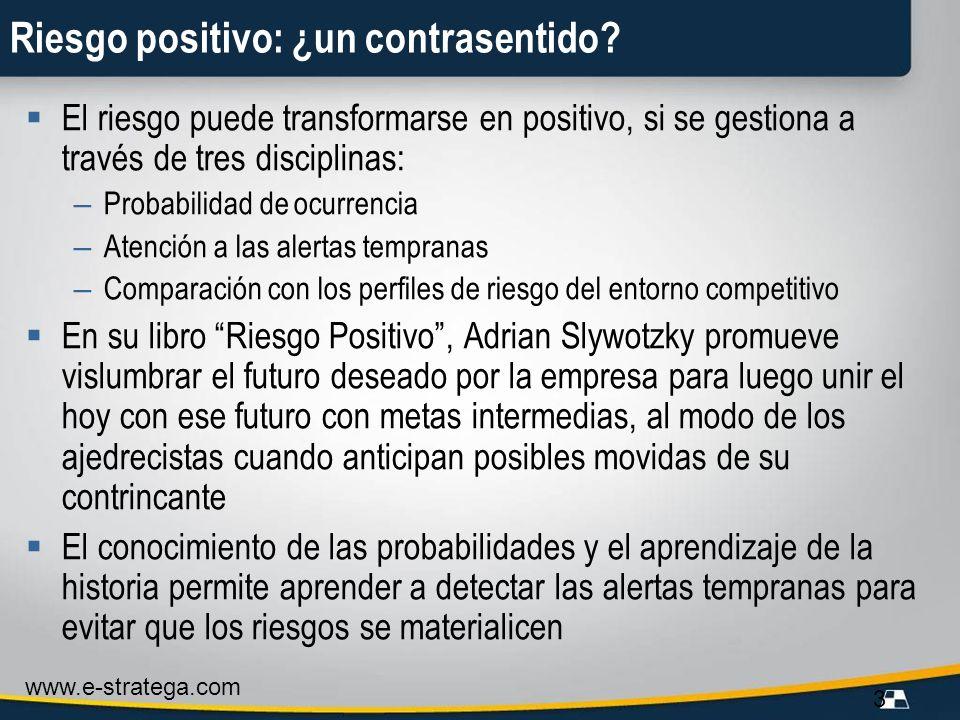 www.e-stratega.com 3 Riesgo positivo: ¿un contrasentido? El riesgo puede transformarse en positivo, si se gestiona a través de tres disciplinas: – Pro