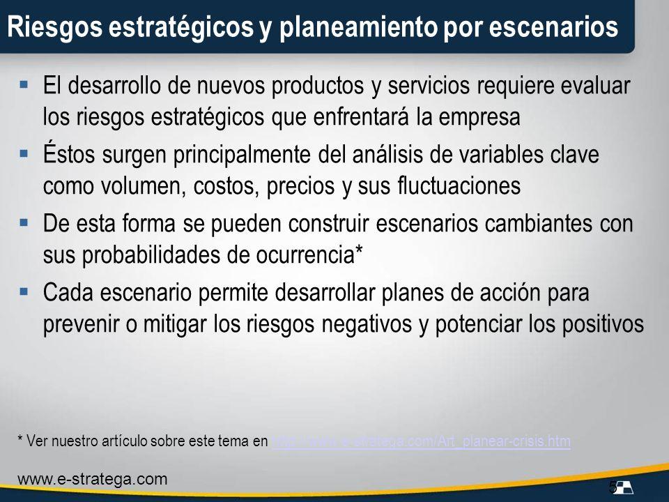 www.e-stratega.com 5 Riesgos estratégicos y planeamiento por escenarios El desarrollo de nuevos productos y servicios requiere evaluar los riesgos est