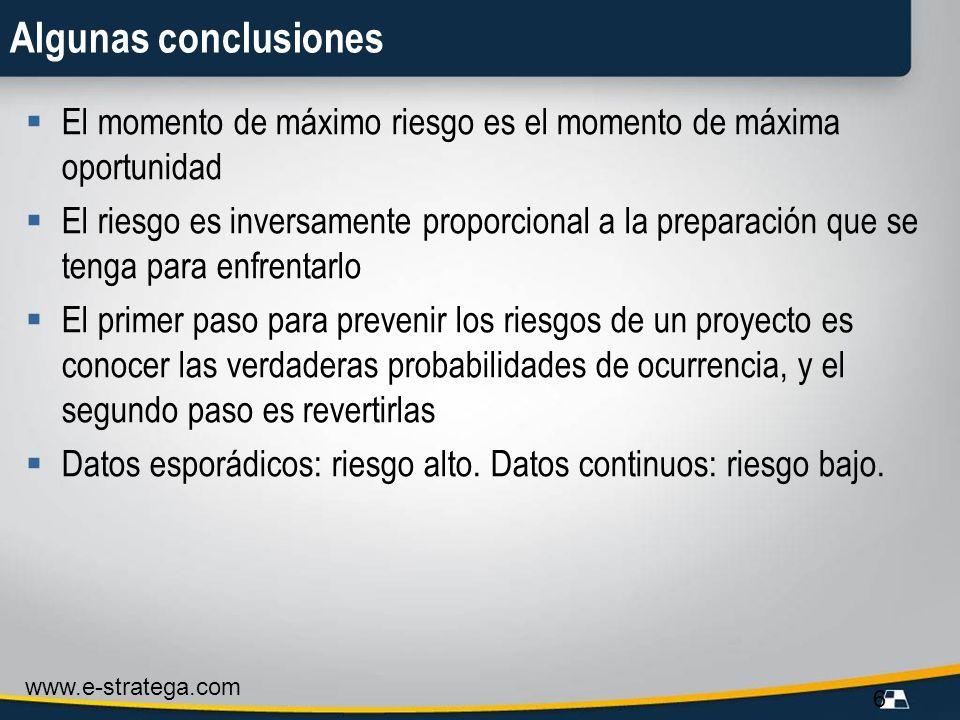 www.e-stratega.com 6 Algunas conclusiones El momento de máximo riesgo es el momento de máxima oportunidad El riesgo es inversamente proporcional a la