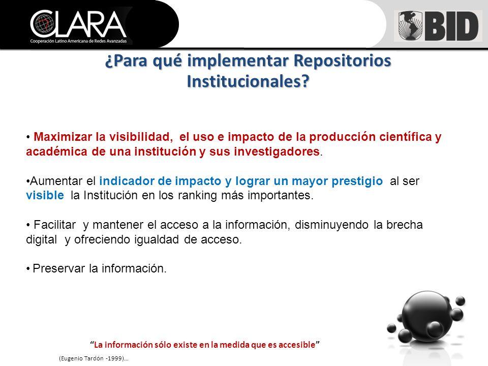 Maximizar la visibilidad, el uso e impacto de la producción científica y académica de una institución y sus investigadores.