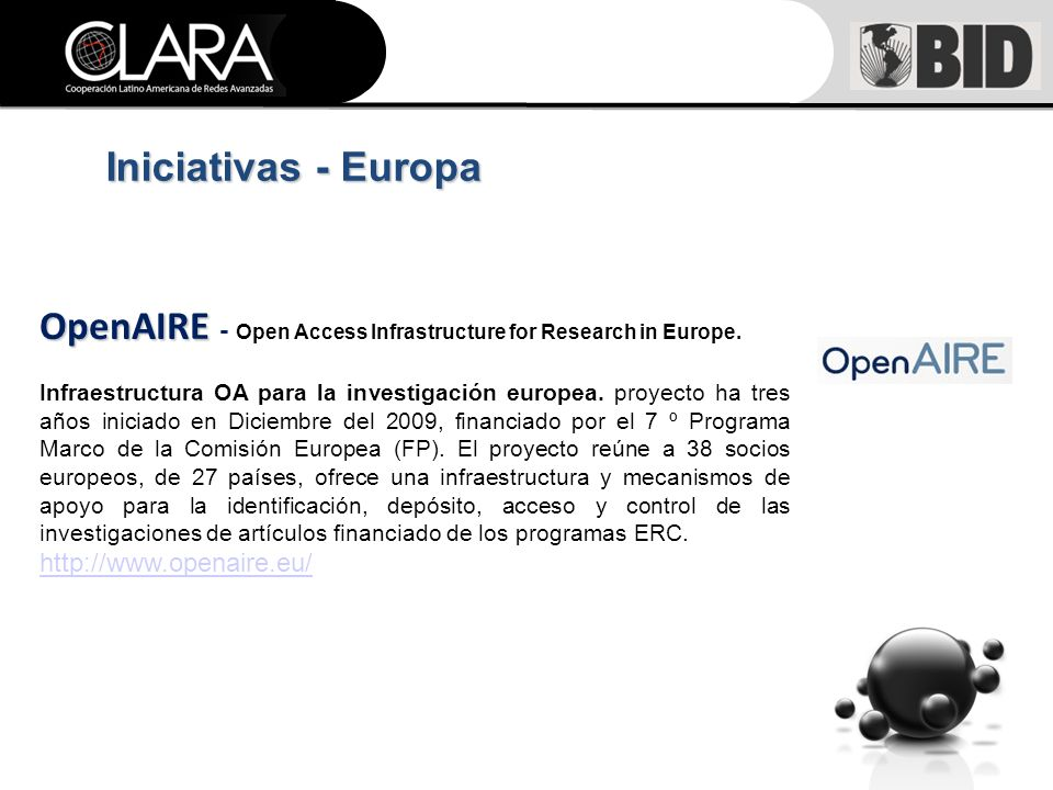 Iniciativas - Europa OpenAIRE OpenAIRE - Open Access Infrastructure for Research in Europe.