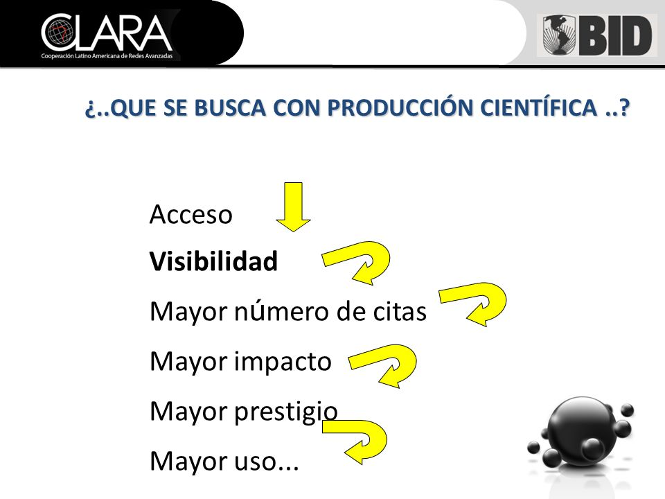 Acceso Visibilidad Mayor n ú mero de citas Mayor impacto Mayor prestigio Mayor uso...