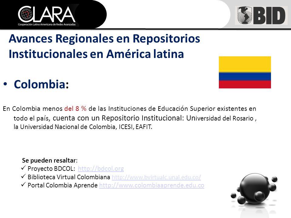 Colombia: En Colombia menos del 8 % de las Instituciones de Educación Superior existentes en todo el país, cuenta con un Repositorio Institucional: Un i versidad del Rosario, la Universidad Nacional de Colombia, ICESI, EAFIT.