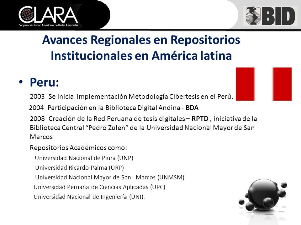 Peru: 2003 Se inicia implementación Metodología Cibertesis en el Perú.