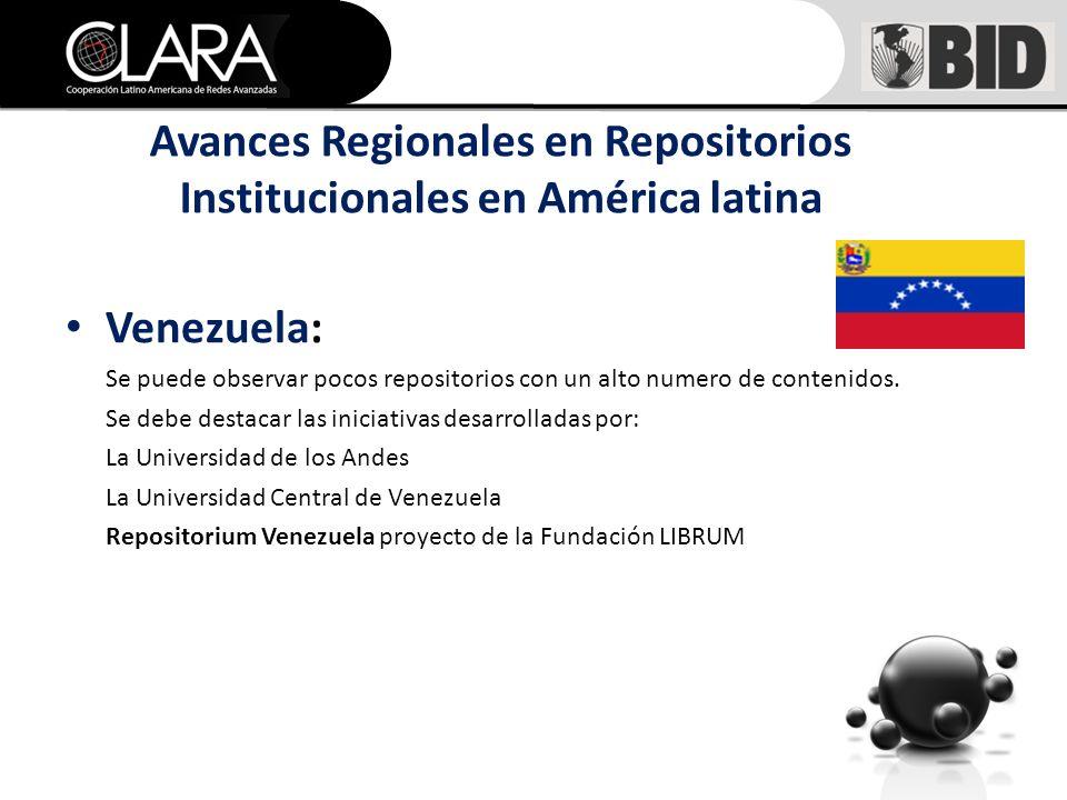 Venezuela: Se puede observar pocos repositorios con un alto numero de contenidos.