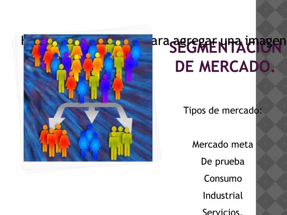 Haga clic en el icono para agregar una imagen SEGMENTACIÓN DE MERCADO.
