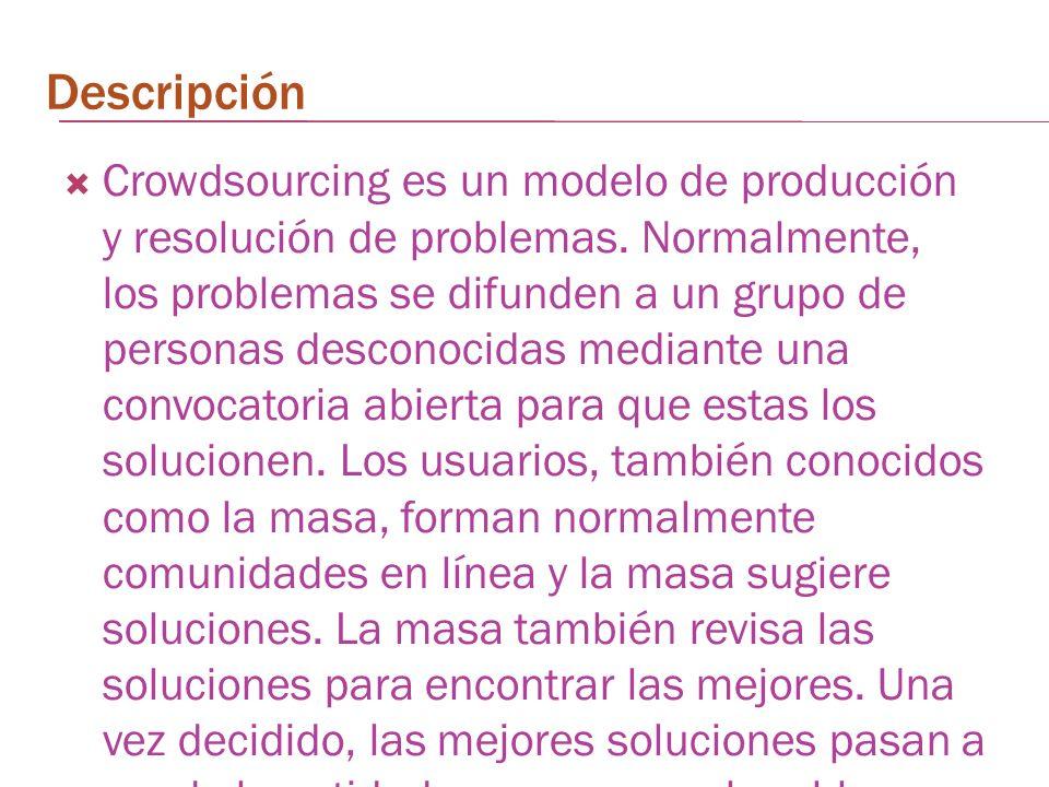 Descripción Crowdsourcing es un modelo de producción y resolución de problemas. Normalmente, los problemas se difunden a un grupo de personas desconoc