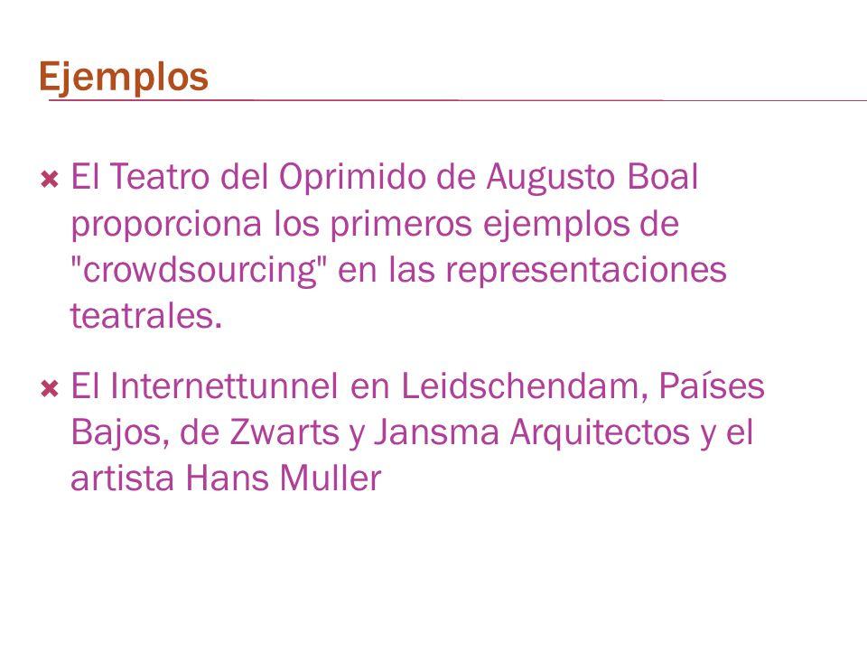 Ejemplos El Teatro del Oprimido de Augusto Boal proporciona los primeros ejemplos de