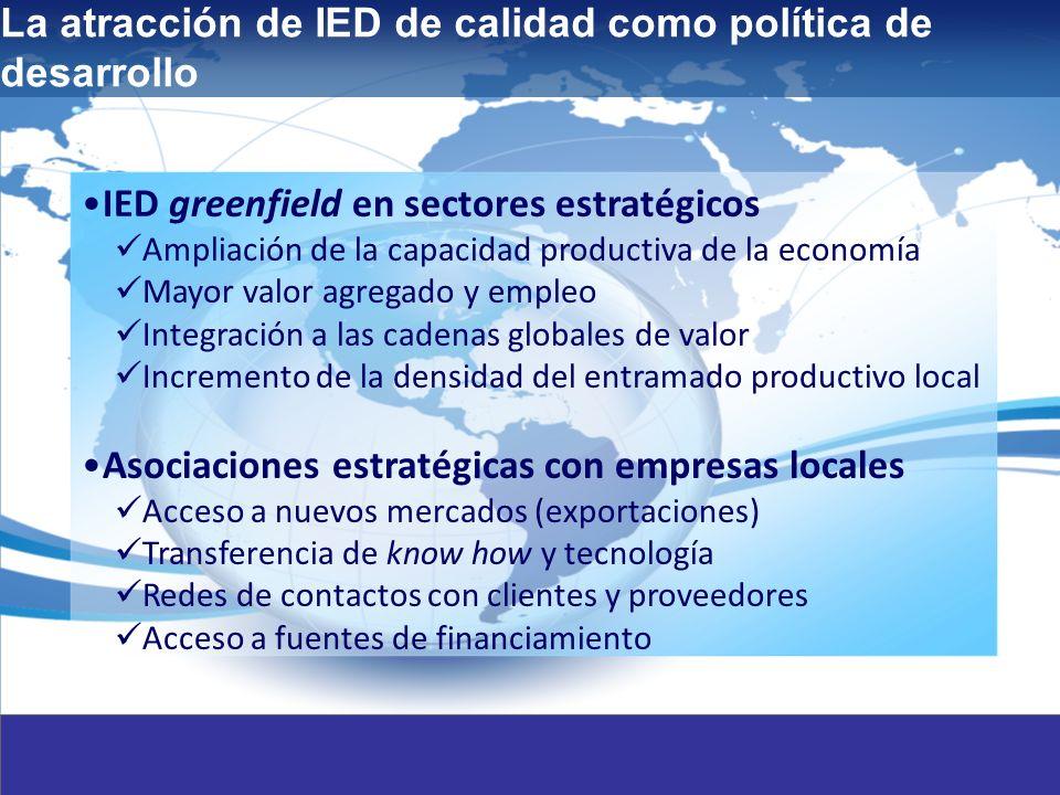 2 IED greenfield en sectores estratégicos Ampliación de la capacidad productiva de la economía Mayor valor agregado y empleo Integración a las cadenas globales de valor Incremento de la densidad del entramado productivo local Asociaciones estratégicas con empresas locales Acceso a nuevos mercados (exportaciones) Transferencia de know how y tecnología Redes de contactos con clientes y proveedores Acceso a fuentes de financiamiento La atracción de IED de calidad como política de desarrollo