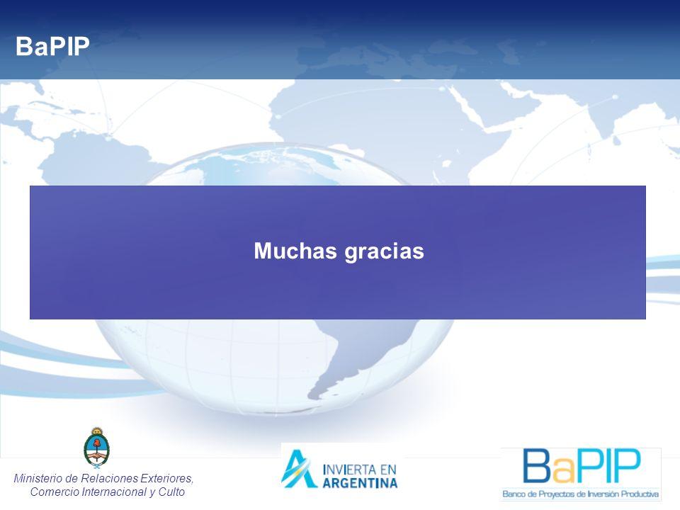 20 Ministerio de Relaciones Exteriores, Comercio Internacional y Culto BaPIP Muchas gracias