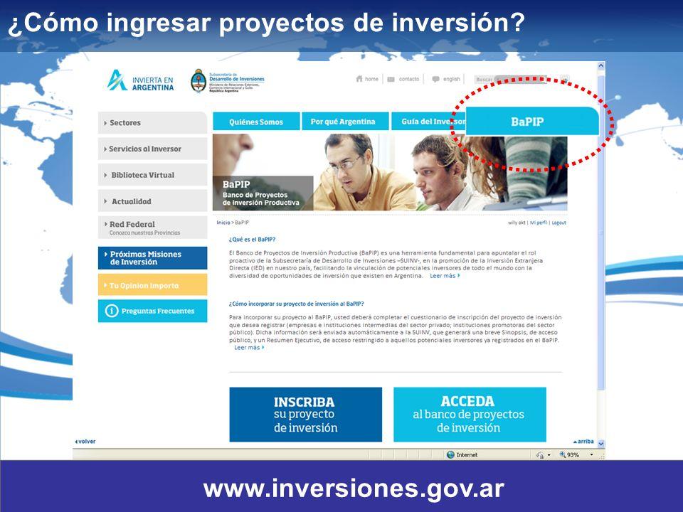 5 ¿Cómo ingresar proyectos de inversión? www.inversiones.gov.ar