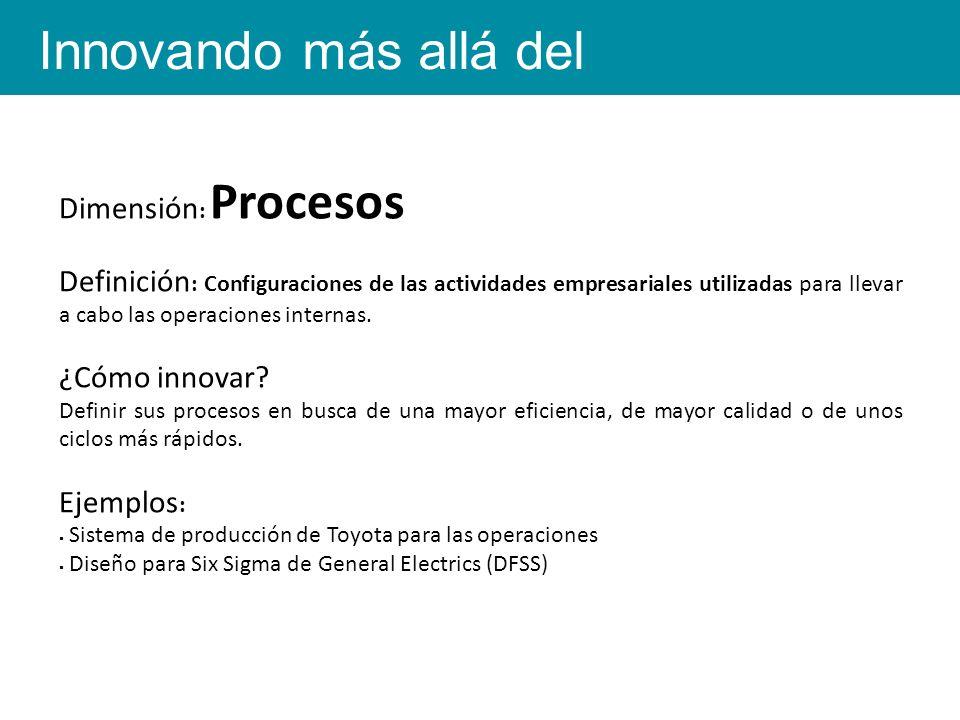 Dimensión : Procesos Definición : Configuraciones de las actividades empresariales utilizadas para llevar a cabo las operaciones internas.