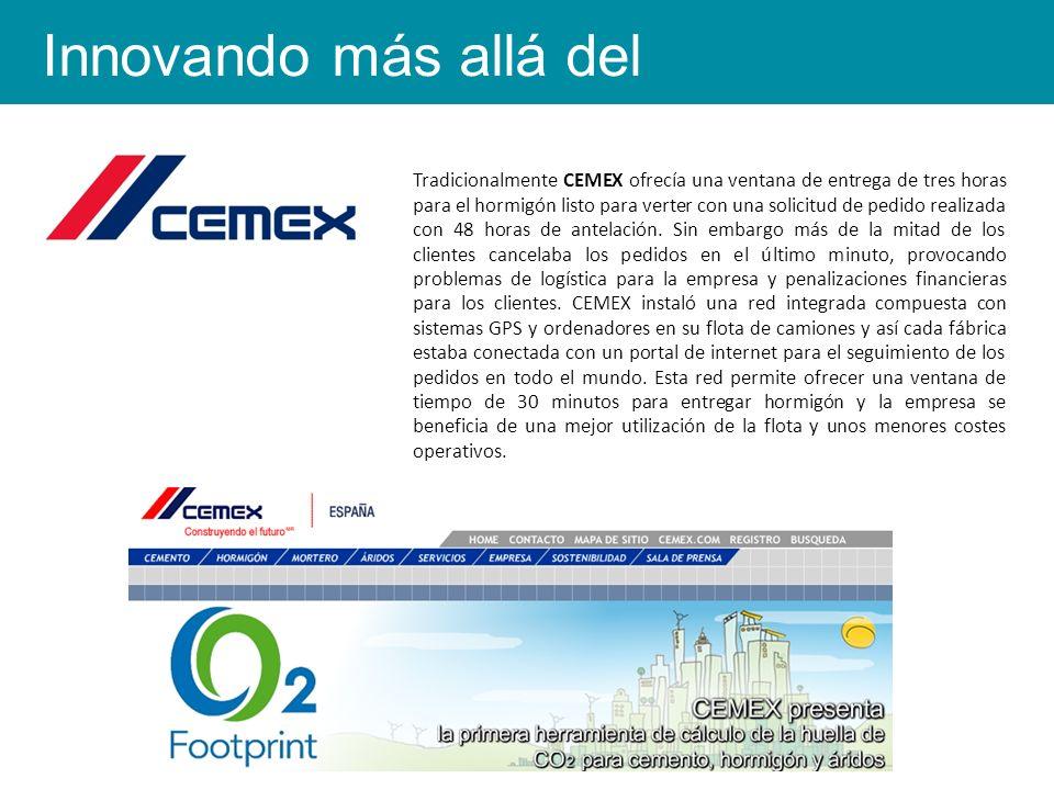 Tradicionalmente CEMEX ofrecía una ventana de entrega de tres horas para el hormigón listo para verter con una solicitud de pedido realizada con 48 horas de antelación.
