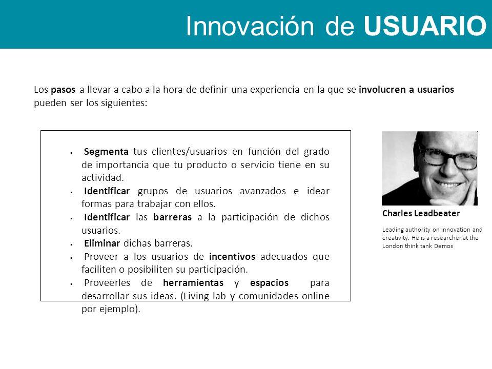 Los pasos a llevar a cabo a la hora de definir una experiencia en la que se involucren a usuarios pueden ser los siguientes: Innovación de USUARIO Segmenta tus clientes/usuarios en función del grado de importancia que tu producto o servicio tiene en su actividad.