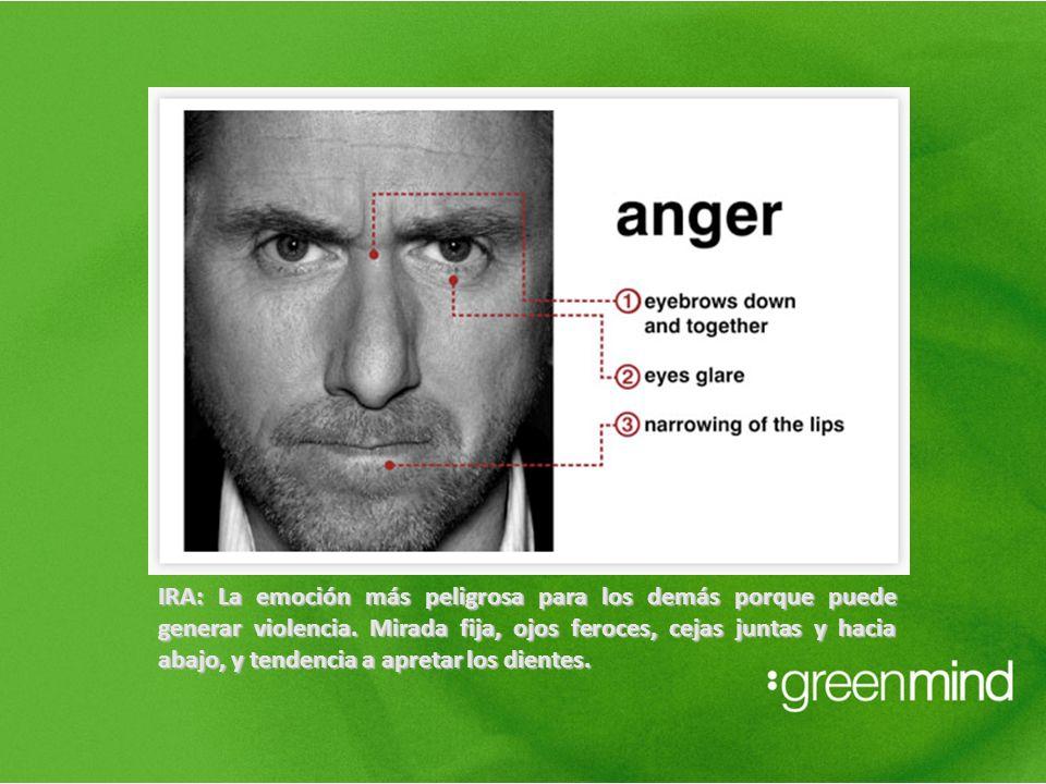 IRA: La emoción más peligrosa para los demás porque puede generar violencia. Mirada fija, ojos feroces, cejas juntas y hacia abajo, y tendencia a apre