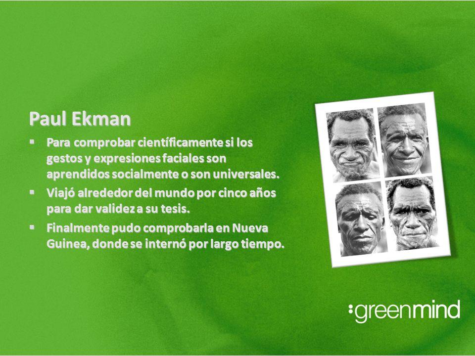Paul Ekman Para comprobar científicamente si los gestos y expresiones faciales son aprendidos socialmente o son universales.