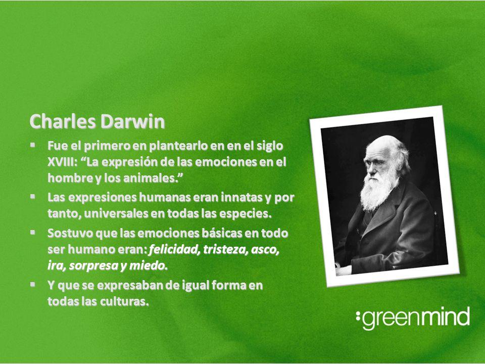 Charles Darwin Fue el primero en plantearlo en en el siglo XVIII: La expresión de las emociones en el hombre y los animales. Fue el primero en plantea