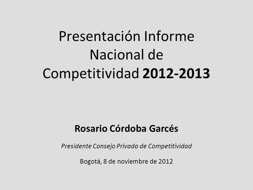 Presentación Informe Nacional de Competitividad 2012-2013 Rosario Córdoba Garcés Presidente Consejo Privado de Competitividad Bogotá, 8 de noviembre de 2012