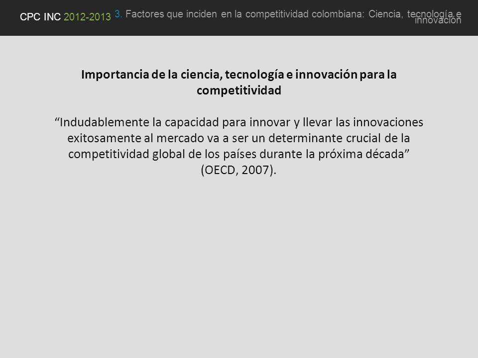 Importancia de la ciencia, tecnología e innovación para la competitividad Indudablemente la capacidad para innovar y llevar las innovaciones exitosamente al mercado va a ser un determinante crucial de la competitividad global de los países durante la próxima década (OECD, 2007).