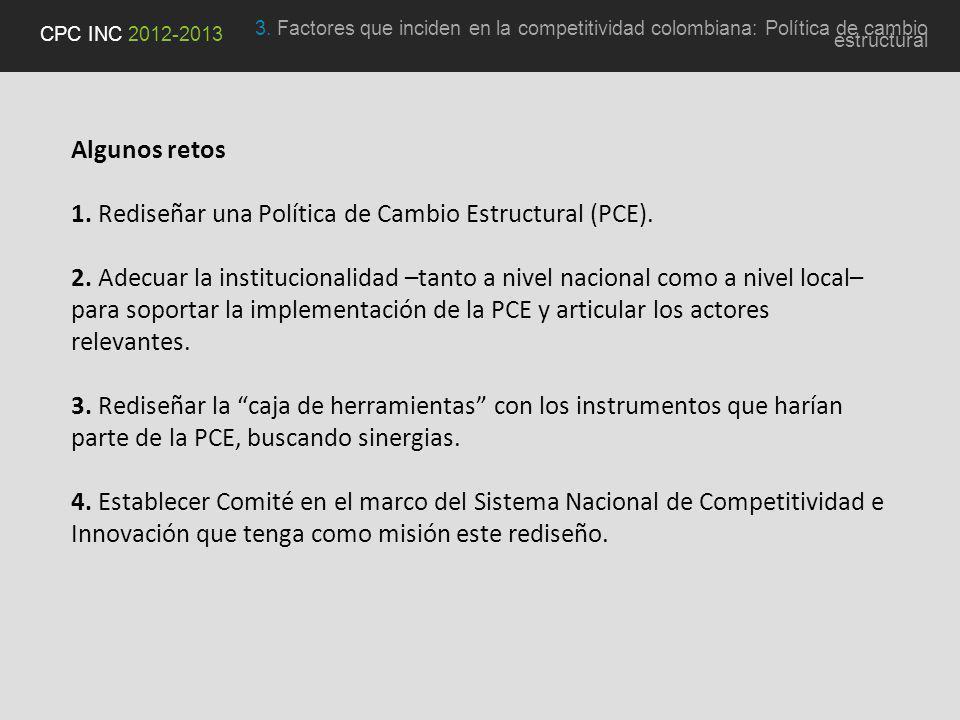 Algunos retos 1. Rediseñar una Política de Cambio Estructural (PCE).