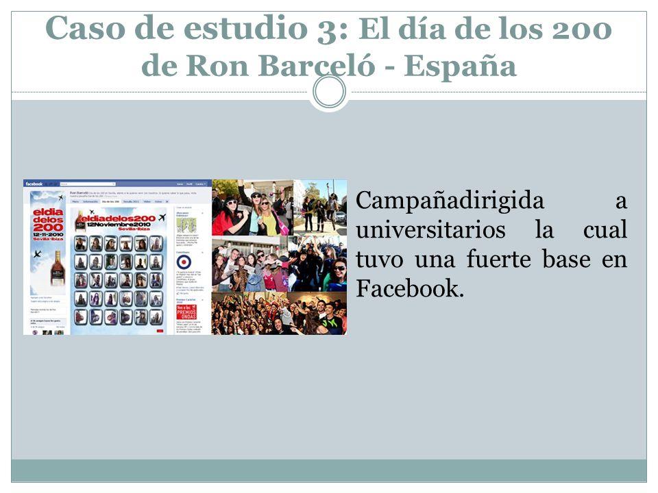 Caso de estudio 3: El día de los 200 de Ron Barceló - España Campañadirigida a universitarios la cual tuvo una fuerte base en Facebook.