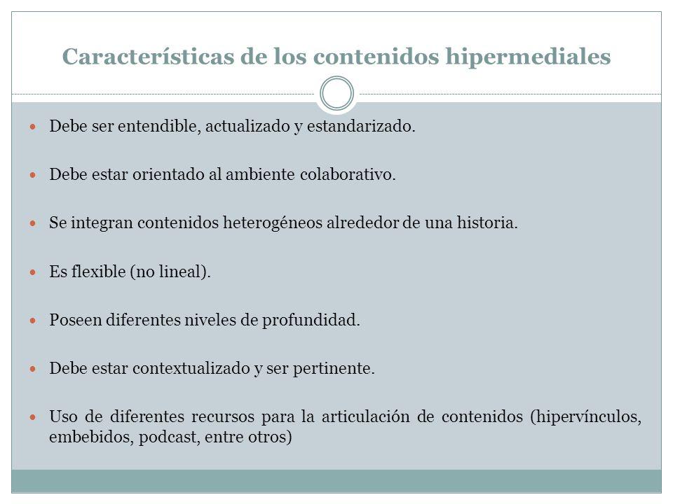 Características de los contenidos hipermediales Debe ser entendible, actualizado y estandarizado. Debe estar orientado al ambiente colaborativo. Se in