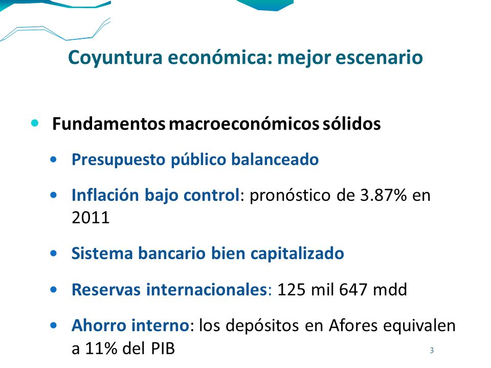 Coyuntura económica: mejor escenario Fundamentos macroeconómicos sólidos Presupuesto público balanceado Inflación bajo control: pronóstico de 3.87% en
