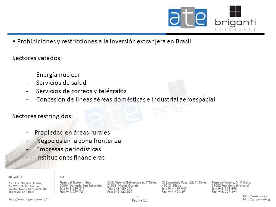 1 Prohibiciones y restricciones a la inversión extranjera en Brasil Sectores vetados: - Energía nuclear - Servicios de salud - Servicios de correos y