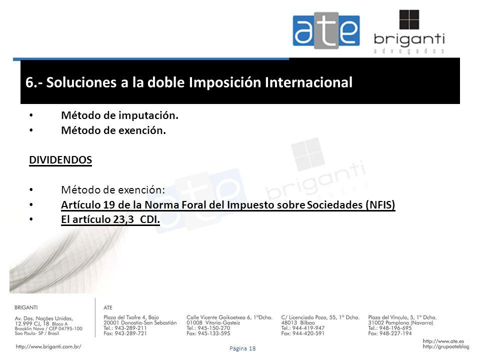 6.- Soluciones a la doble Imposición Internacional Método de imputación. Método de exención. DIVIDENDOS Método de exención: Artículo 19 de la Norma Fo