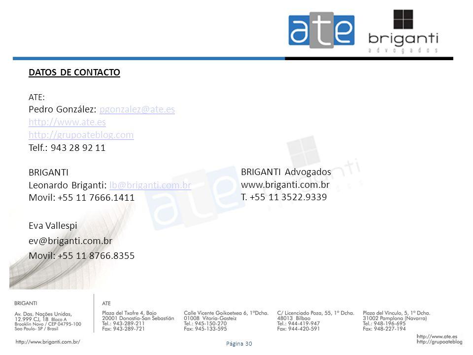 DATOS DE CONTACTO ATE: Pedro González: pgonzalez@ate.espgonzalez@ate.es http://www.ate.es http://grupoateblog.com Telf.: 943 28 92 11 BRIGANTI Leonard