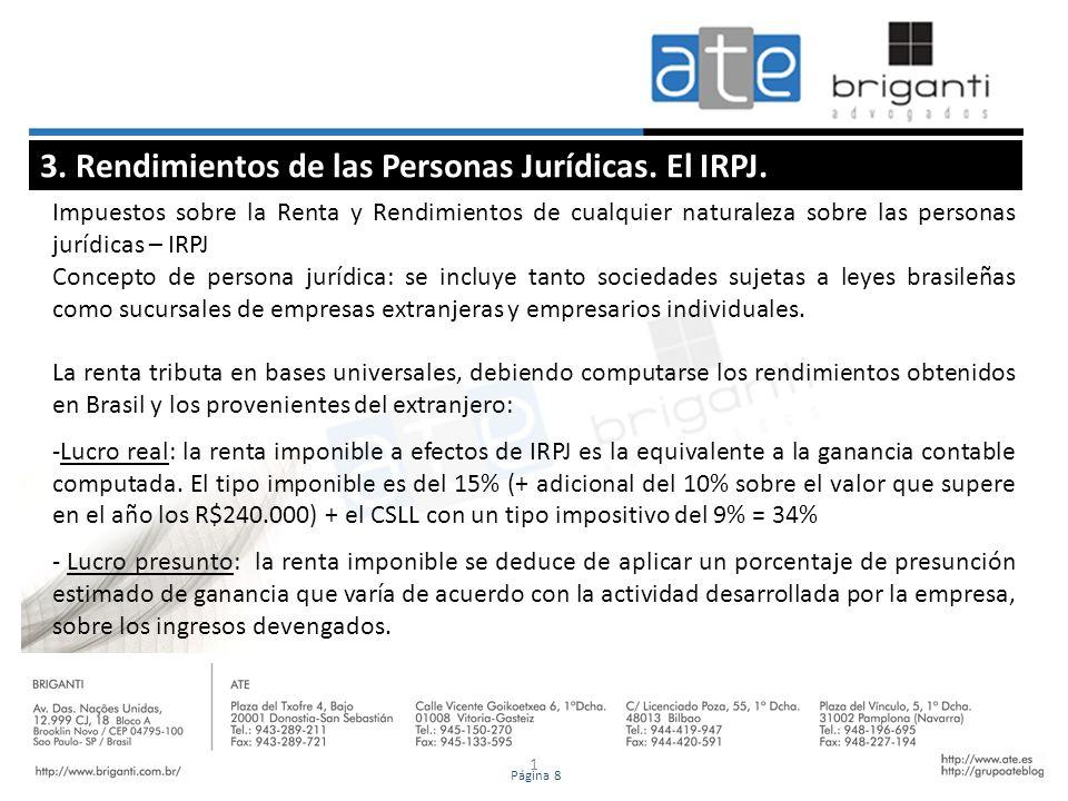 1 3. Rendimientos de las Personas Jurídicas. El IRPJ. Impuestos sobre la Renta y Rendimientos de cualquier naturaleza sobre las personas jurídicas – I