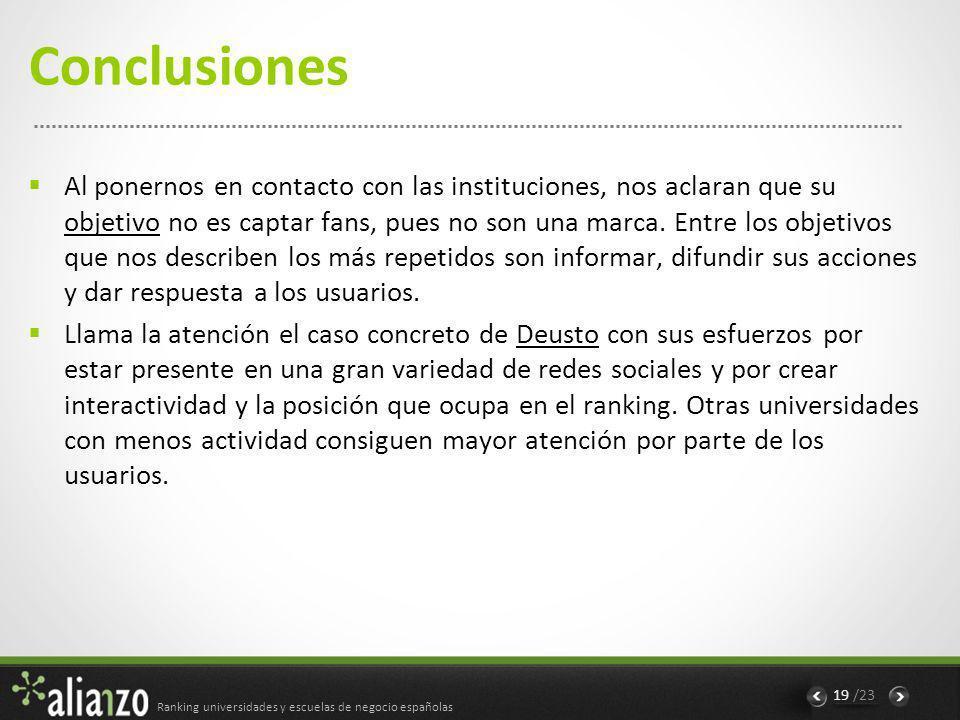 Ranking universidades y escuelas de negocio españolas 19 /23 Conclusiones Al ponernos en contacto con las instituciones, nos aclaran que su objetivo no es captar fans, pues no son una marca.