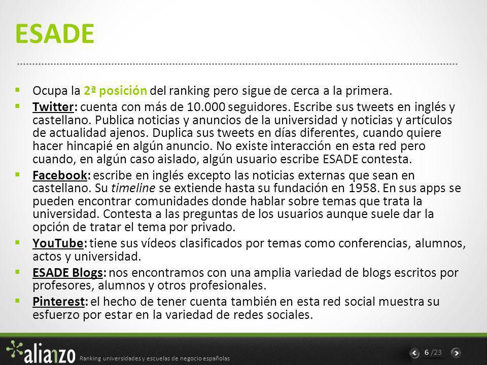 Ranking universidades y escuelas de negocio españolas 6 /23 ESADE Ocupa la 2ª posición del ranking pero sigue de cerca a la primera.