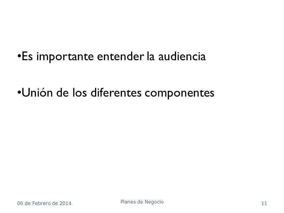 Es importante entender la audiencia Unión de los diferentes componentes 06 de Febrero de 2014 Planes de Negocio 11