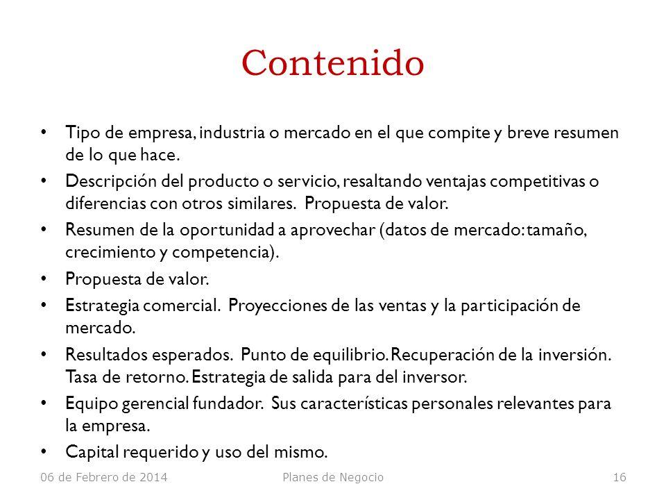 Contenido Tipo de empresa, industria o mercado en el que compite y breve resumen de lo que hace. Descripción del producto o servicio, resaltando venta