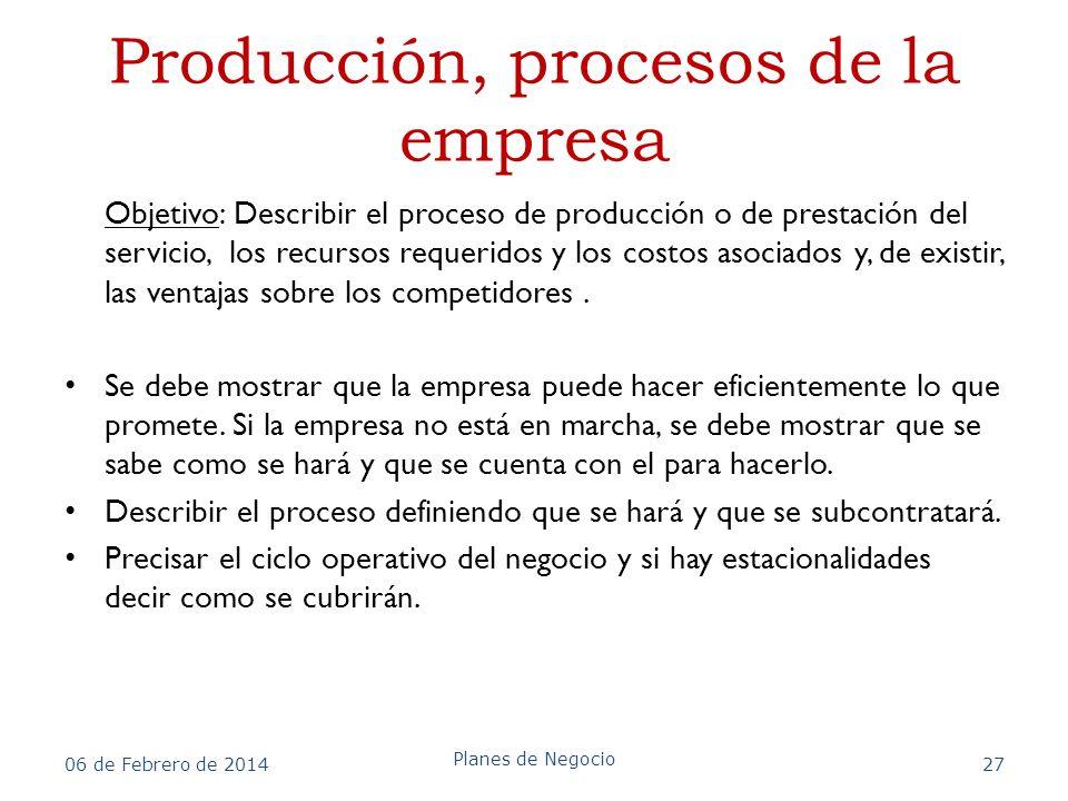 Producción, procesos de la empresa Objetivo: Describir el proceso de producción o de prestación del servicio, los recursos requeridos y los costos aso